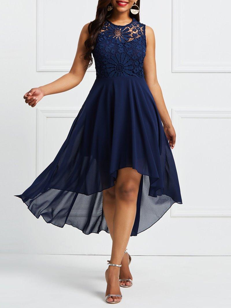 Ericdress Asymmetric Hollow Patchwork Maxi Dress