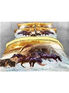 Vivilinen Running Brown Horse Printed 4-Piece 3D Bedding Sets/Duvet Covers