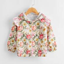 Toddler Girls Allover Floral Print Ruffle Trim Hooded Jacket