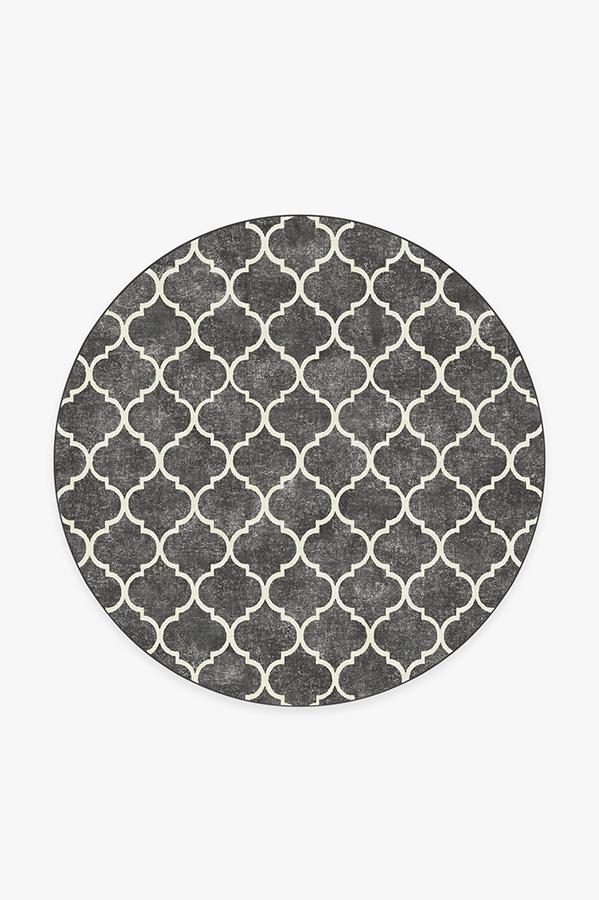Washable Rug Cover & Pad   Terali Black Rug   Stain-Resistant   Ruggable   6' Round
