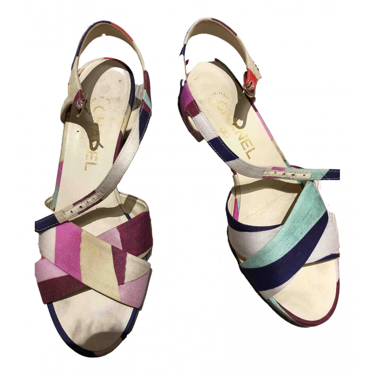 Chanel - Sandales   pour femme en toile - multicolore