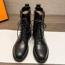 Lace-up Side Zip Combat Boots