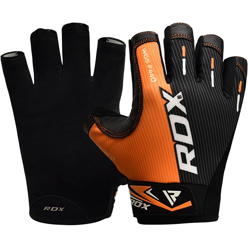 RDX F44 Gants de Musculation 2X Grande Orange Lycra