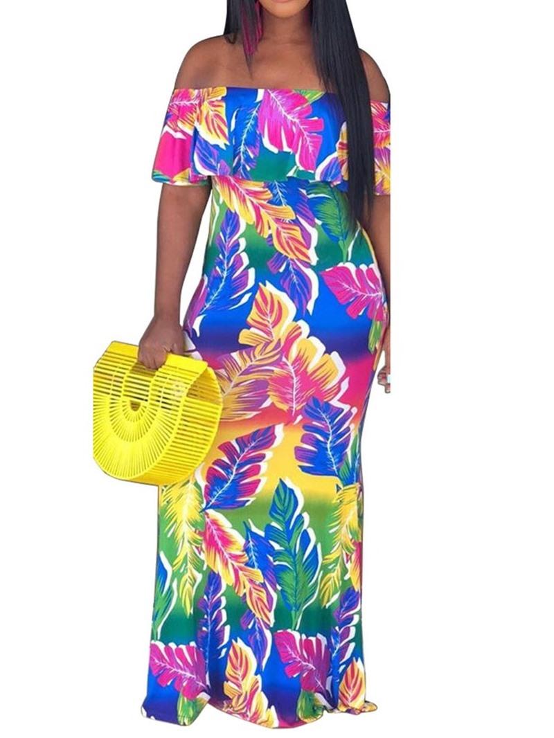 Ericdress Print Short Sleeve Off Shoulder Regular Bodycon Dress
