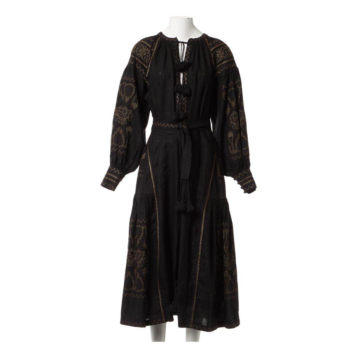 Vita Kin \N Kleid in  Schwarz Leinen