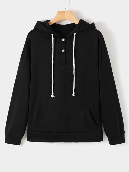 Yoins Button Design Drawstring Long Sleeves Hoodie
