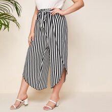 Pantalones de pierna ancha con cinturon de rayas verticales - grande