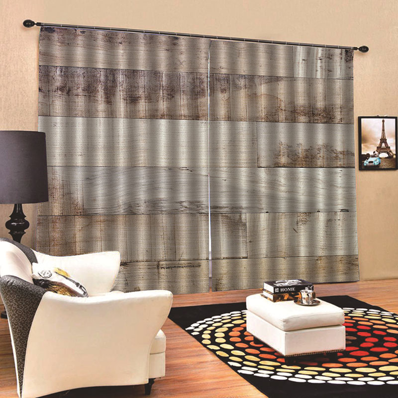 3D Realistic Wood Print Blackout Curtains Polyester Blend Super Heavy and Soft Handy Feeling Eco-friendly Blocks Out 80% of Light and 90% of UV Ray 84