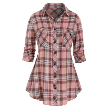 Plus Size Plaid Roll Up Sleeve Tunic Shirt