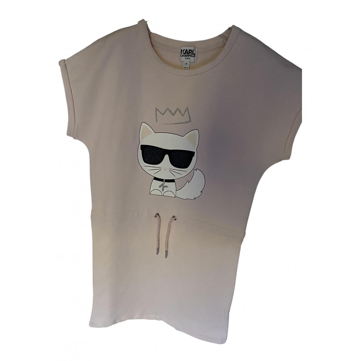 Karl Lagerfeld - Robe    pour enfant en coton - rose