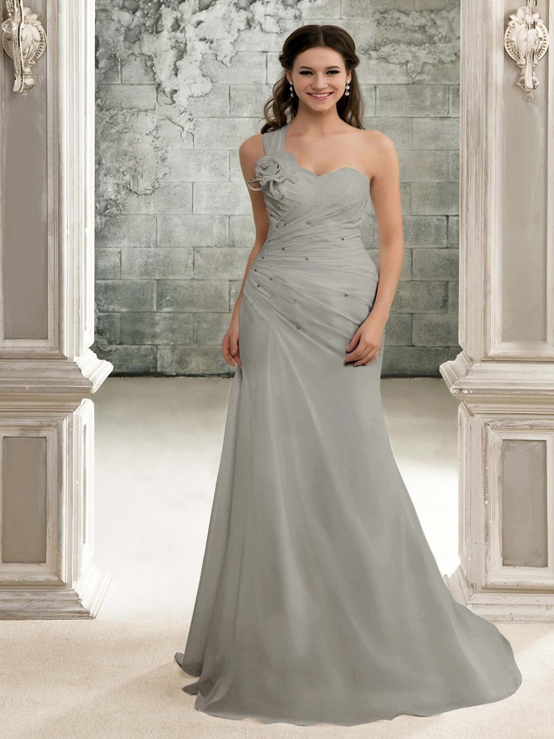 Ericdress One Shoulder Pleats Beading Beach Wedding Dress