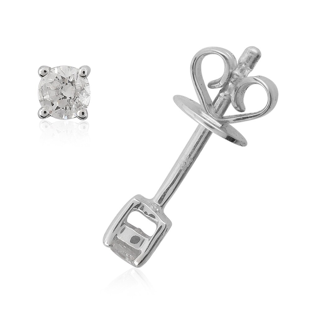 925 Sterling Silver White Diamond Solitaire Earrings Ct 0.2 (White - White)
