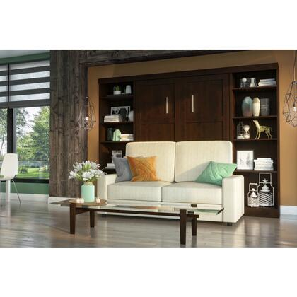 26793-000069 Pur by 4-Piece Full Wall Bed  Two Storage Units and Sofa Set in Chocolate &