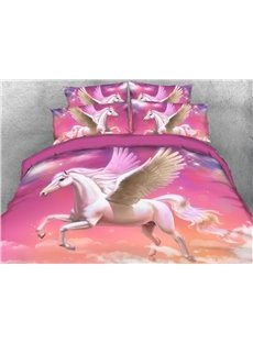 White Unicorn Flying in the Sky 4-Piece 3D Bedding Sets/Duvet Covers