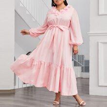 Plus 3D Floral Applique Lantern Sleeve Flounce Hem Self Belted Dress