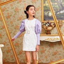 Satin Kleid mit Guipure Spitzenbesatz, Kontrast und Gigotaermeln