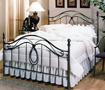 Milano Collection 167BK King Size Headboard and Footboard Set with Double Loop Motif  Open-Frame Panel Design  Decorative Finials and Metal