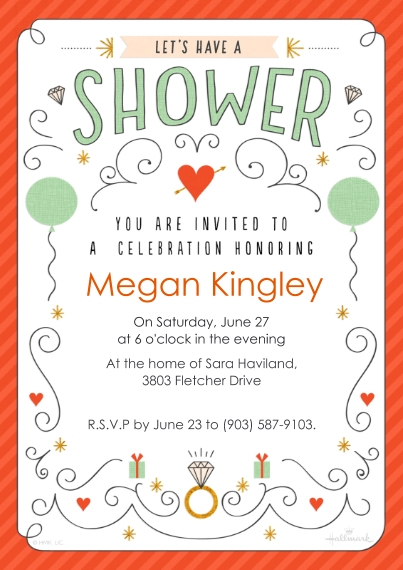 Wedding Shower Invitations Flat Matte Photo Paper Cards with Envelopes, 5x7, Card & Stationery -Bridal Shower Doodles