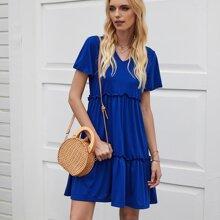 Kleid mit V Ausschnitt und Falten