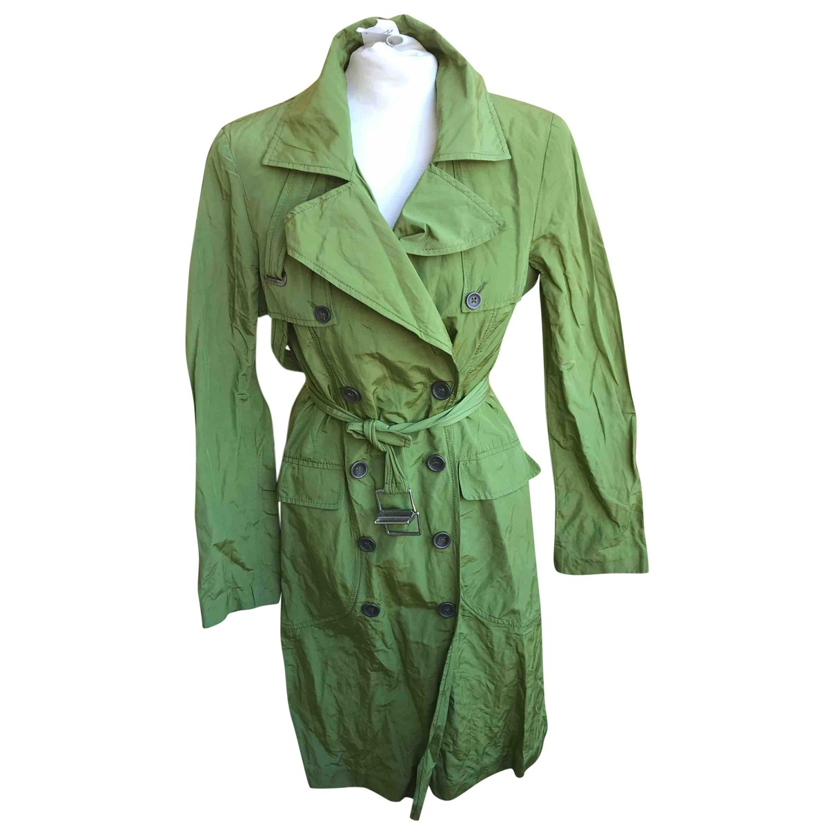 Non Signe / Unsigned \N Trench in  Gruen Polyester