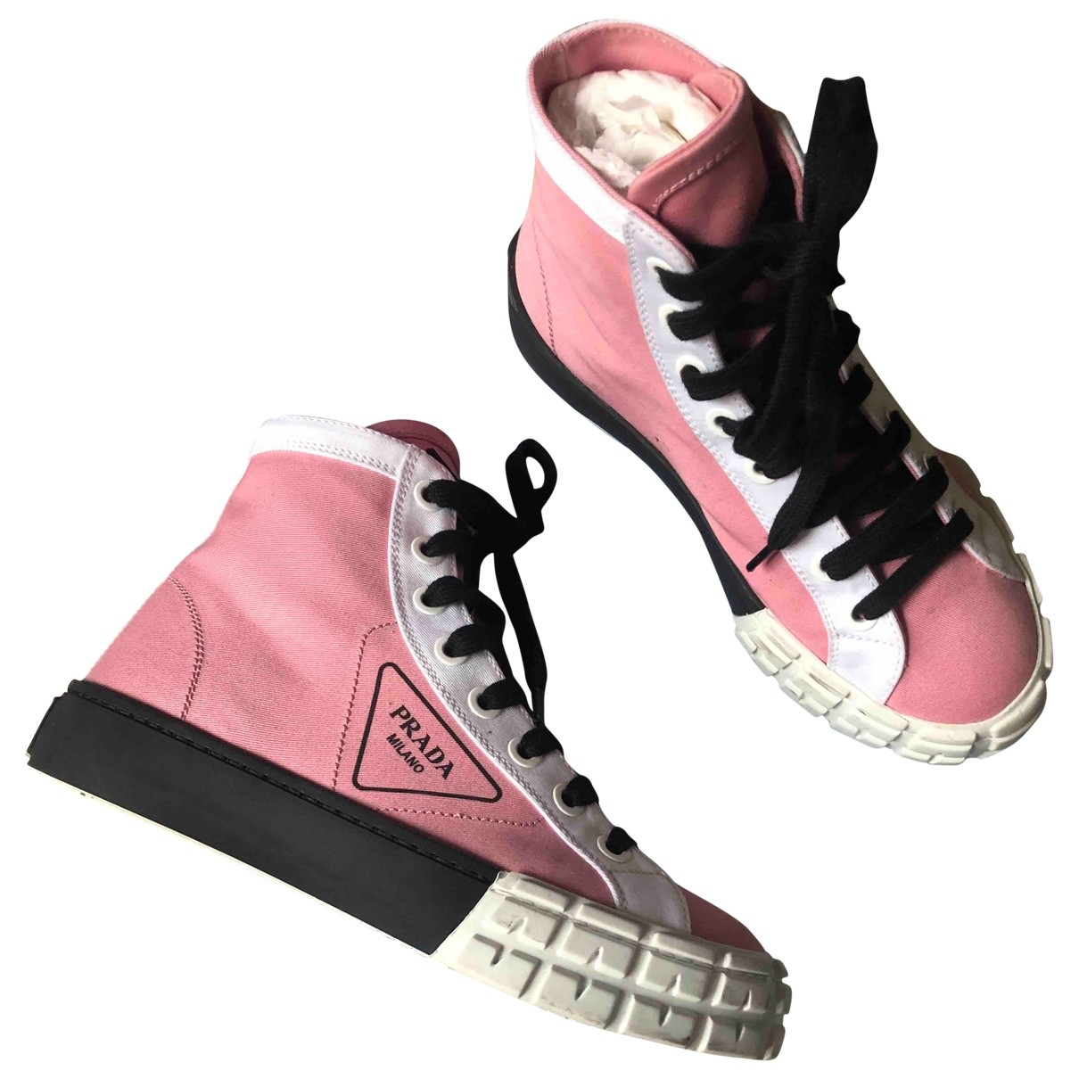 Prada \N Pink Cloth Ankle boots for Women 37 EU
