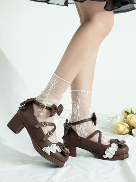 Milanoo Classic Lolita Shoes Deep Blue Bows Round Toe Lace PU Leather Lolita Shoes