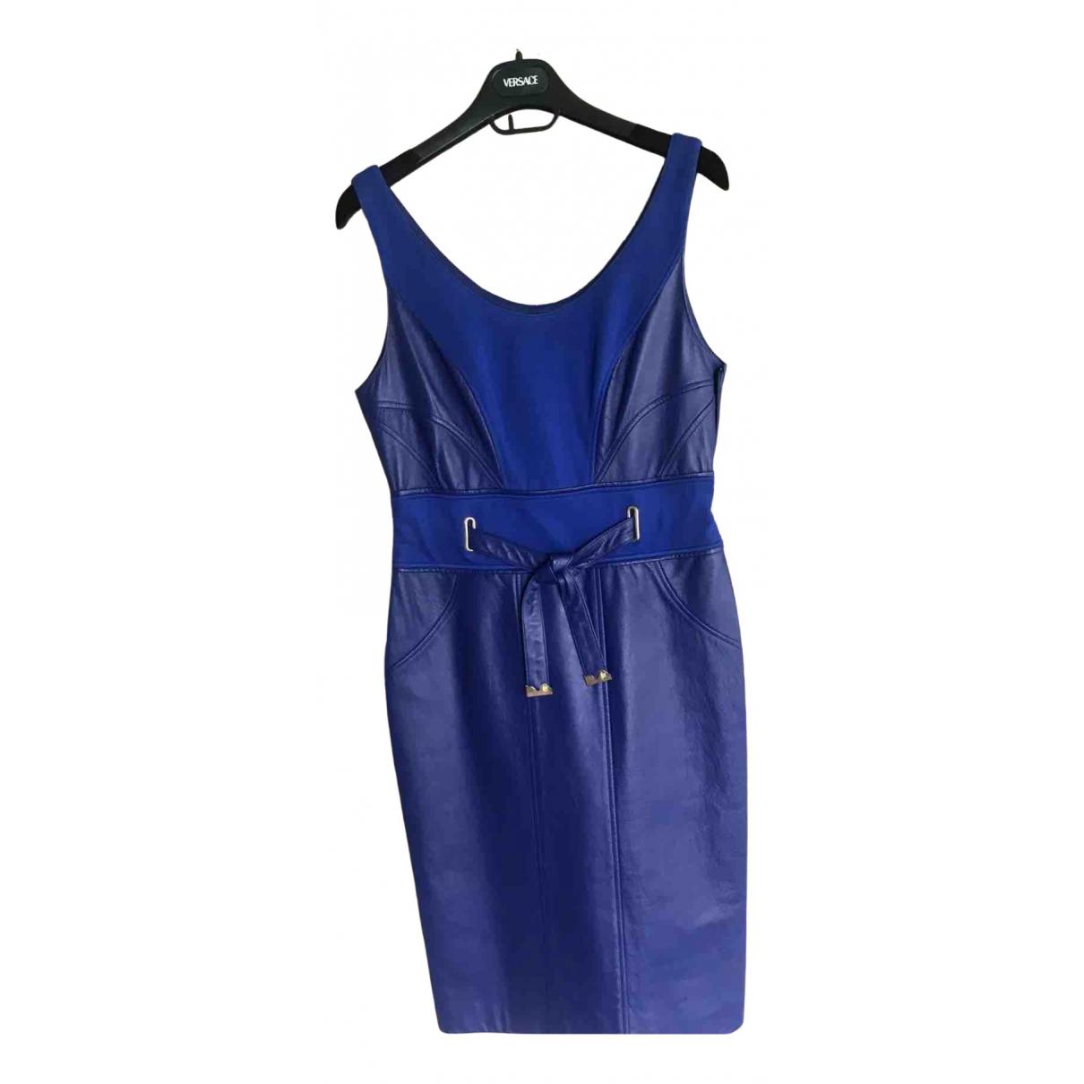 Versace \N Kleid in  Blau Leder