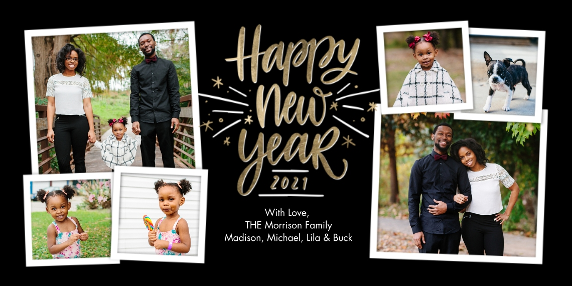 New Year's Photo Cards Flat Matte Photo Paper Cards with Envelopes, 4x8, Card & Stationery -2021 New Year Sparkling Gold by Tumbalina