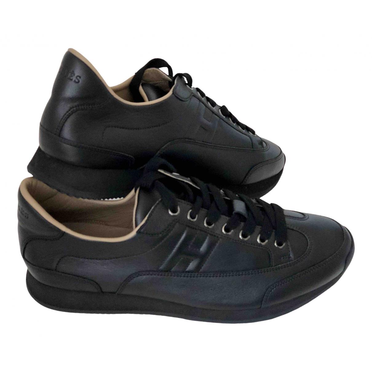 Hermes - Baskets   pour homme en cuir - noir