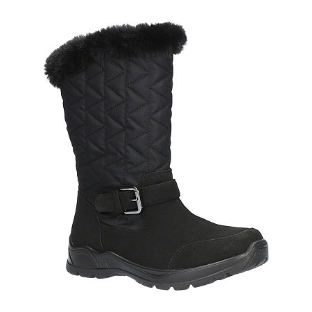 Easy Street Womens Boulder Waterproof Winter Boots Flat Heel, 11 Wide, Black