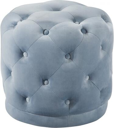 Harper Collection 136SkyBlu 18 Ottoman with Contemporary Design  Velvet Upholstery and Deep Button Tufting in Sky
