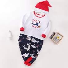 Conjunto de pijama con estampado de tiburon de navidad 3 piezas