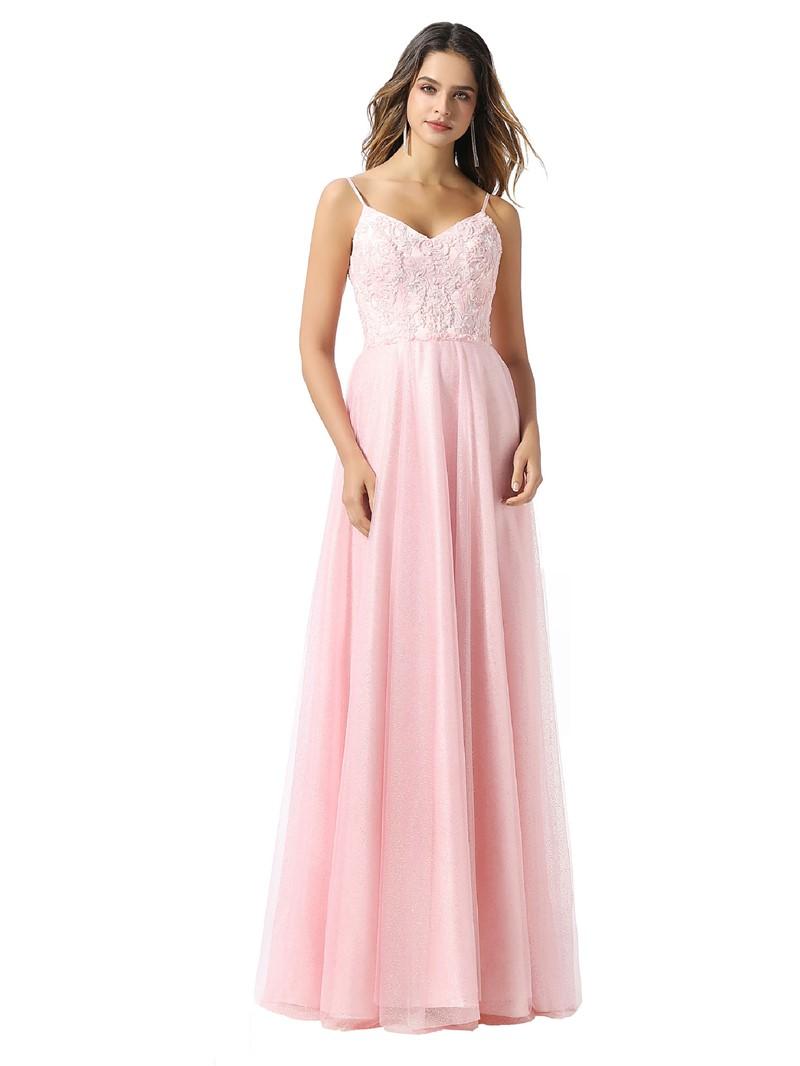 Ericdress A-Line Appliques Spaghetti Straps Sleeveless Prom Dress 2020