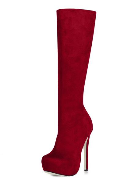 Milanoo Black High Knee boots Women's Almond Toe Wide calf Platform Zip Up Suede High Heel Boots