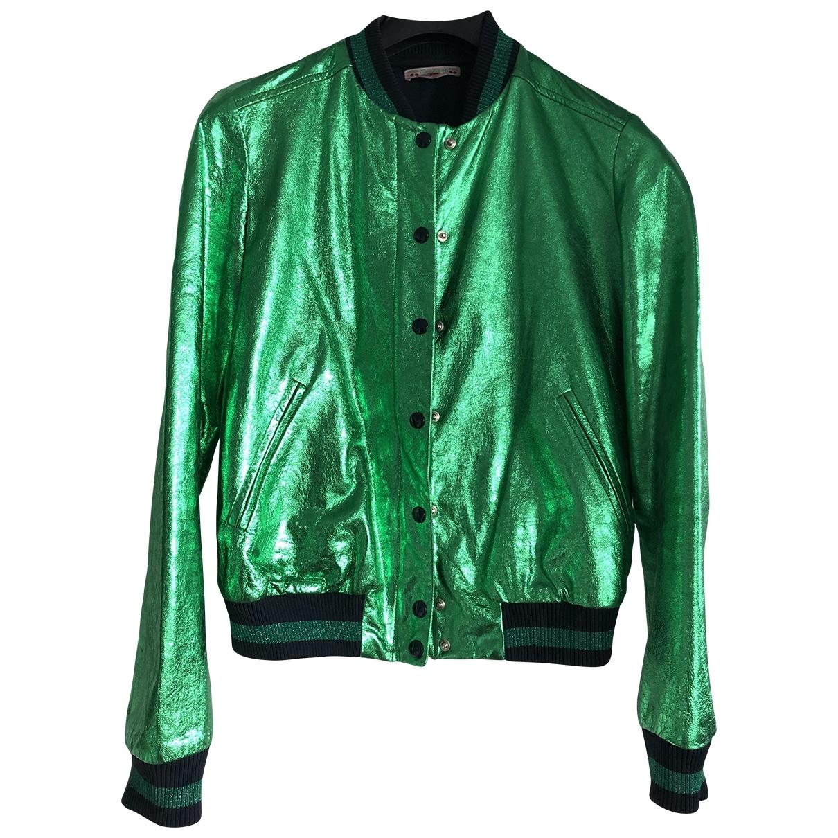 Bonpoint - Blouson   pour femme en cuir - vert