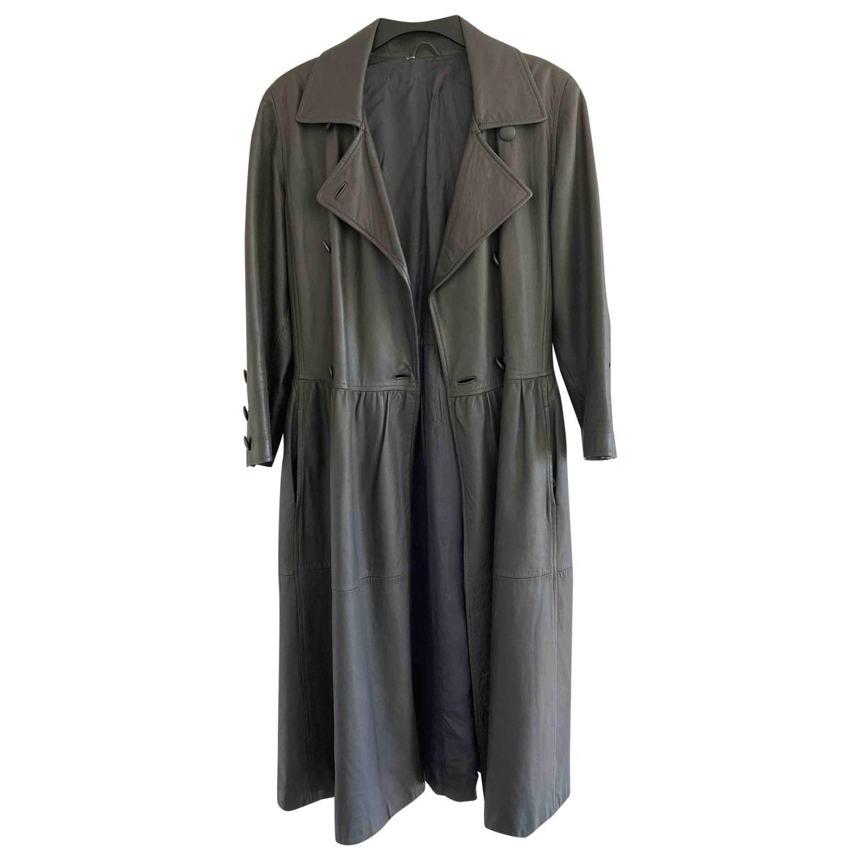 Yves Saint Laurent - Blouson   pour femme en cuir - anthracite