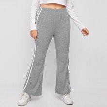 Pantalones Extra Grande Raya lateral A rayas Deportivo