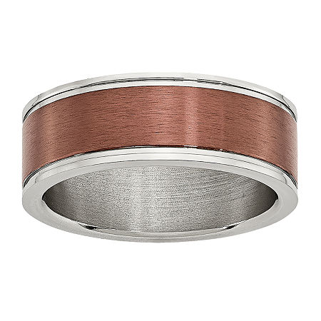 Mens 8mm Bronze Tone IP-Plated Stainless Steel Wedding Band, 9 , No Color Family