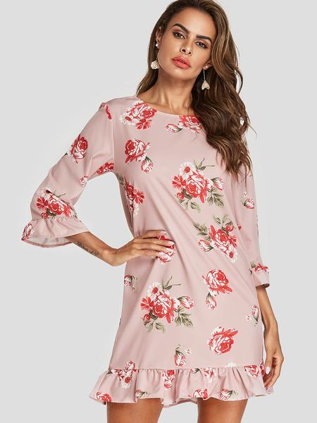Yoins Random Floral Print 3/4 Length Sleeves Flounced Hem Mini Dress
