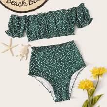 Schulterfreier Bikini mit Bluemchen Muster und hoher Taille