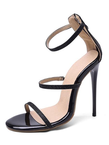 Milanoo High Heel Sandals Womens Open Toe Stiletto Heels Sandals with Zipper