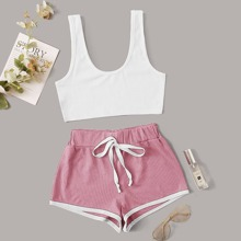 Rib-knit Tank Top & Letter Graphic Knotted Shorts PJ Set