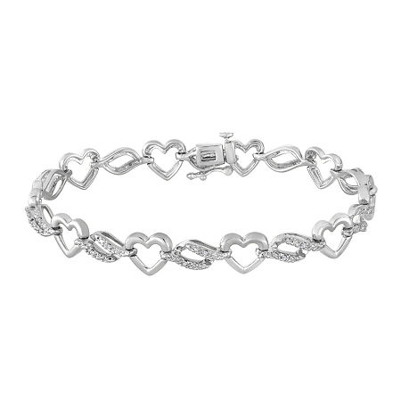 1/10 CT. TW. Diamond Sterling Silver Heart Tennis Bracelet, One Size , No Color Family