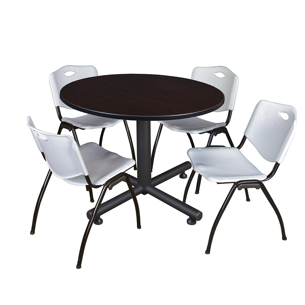 Regency Seating Kobe Black 48-inch Round Breakroom Table with 4 Grey 'M' Stackable Chairs (Mocha - Walnut Finish)