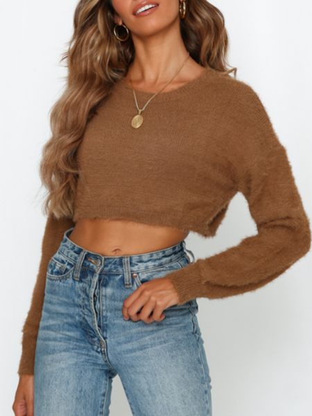 Yoins Fluffy Knit Crew Neck Long Sleeves Sweater