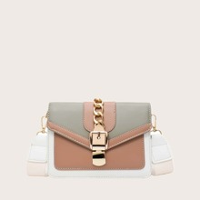Buckle Decor Colorblock Crossbody Bag