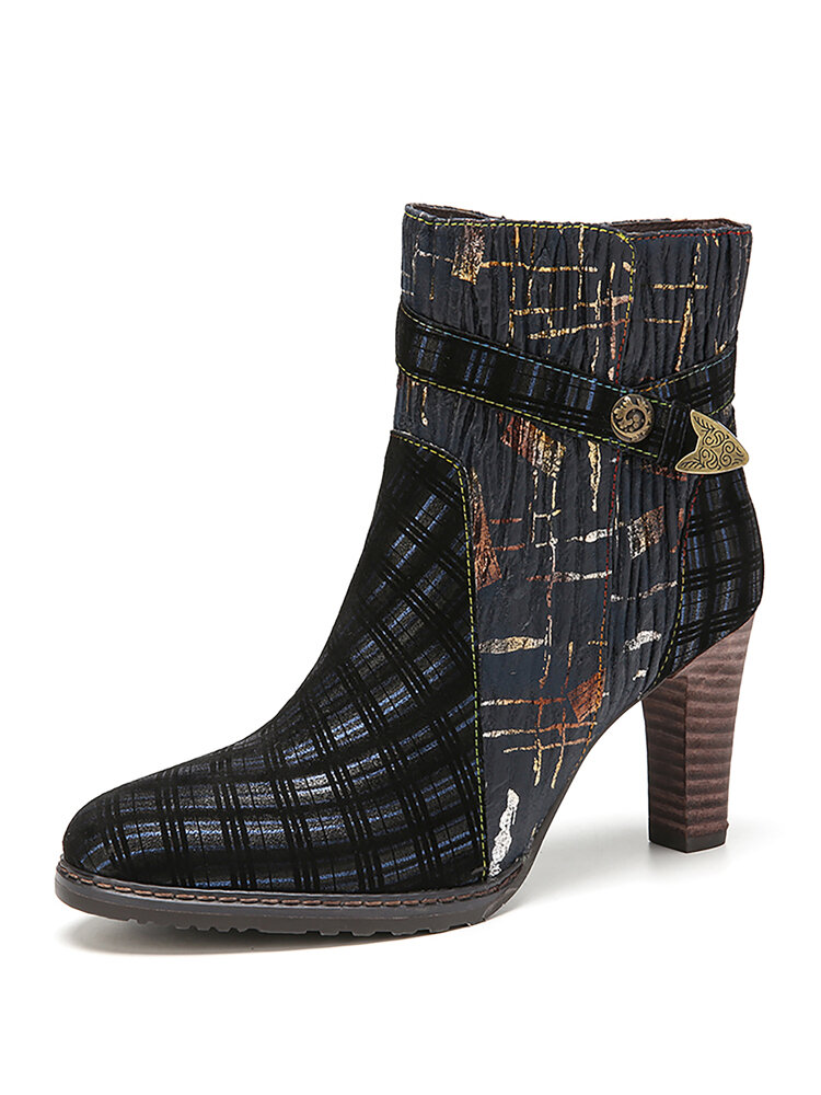 SOCOFY Vintage Pattern Genuine Leather Splicing Comfy Wearable Sole High Heel Short Boots