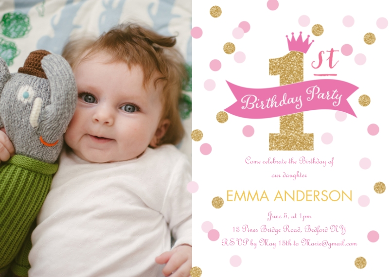 Kids Birthday Party 5x7 Cards, Premium Cardstock 120lb with Rounded Corners, Card & Stationery -Birthday Invite First Confetti