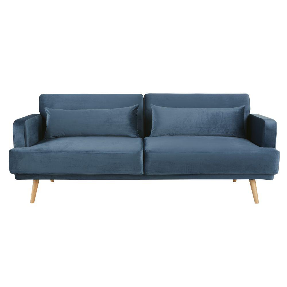 3-Sitzer-Sofa mit blauem Samtbezug Elvis