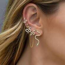 5pcs Rhinestone Snake Shaped Earrings